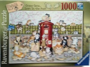 Brand New Ravensburger 1000 Piece Jigsaw Puzzle - CRAZY CATS...LOST IN THE POST