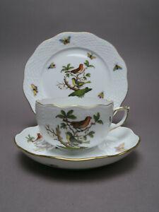 Herend Rothschild 3er Teegedeck Vögel Schmetterling 724 Tasse UT Teller Butterfl