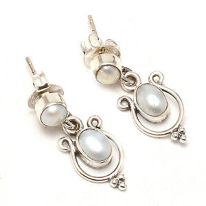 Handmade Sterling Silver Dangle & Drop Earrings with Natural Gem Stone Pearl.