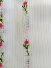 """Vintage White Pink Roses Needlepoint Tablecloth 60 X 102"""" Cottage Deco"""