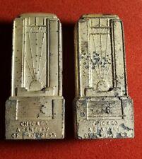 1933 Metal Chicago World's Salt Pepper Shakers Century of Progress w1070