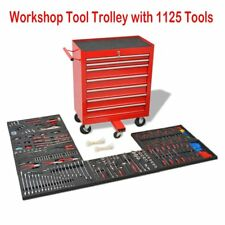 Workshop Tool Trolley Mobile Storage Chest Box with1125 Tools Steel Red Lockable