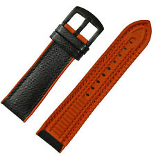 22mm Scratch-Resistant Black Leather + Orange Silicone Rubber Watch Band strap