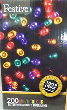 Festive Christmas String Lights, Battery Operated Timer LED Multicolor 200 bulbs
