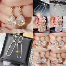 Luxury Women Crystal Geometric Earrings Long Tassel Star Dangle Wedding Party