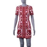 DOLCE & GABBANA Tile Print Majolica Silk Stretch Mini Dress Red White 05736