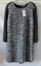 Vince Tweedy Cotton/Wool Dress-3/4 Sleeve-Black/White/Charcoal- Large- NWT $425