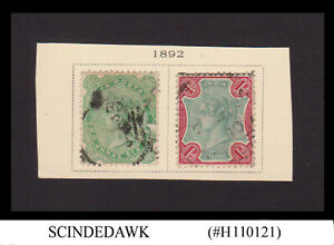 INDIA - 1892 2a6p & 1r QV SG#103 & 105 - 2V - USED HINGED ON PAGE-CUT-OUT