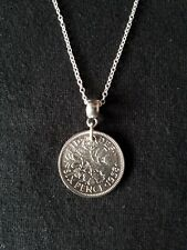 English Sixpence Coin Necklace. Choice of year and Sterling Silver chain.