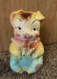 VINTAGE 1950'S AMERICAN BISQUE POTTERY  PIG COOKIE JAR GREAT COLORS & CONDITION