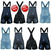 New Women's Ladies Jumpsuit Play suit Frayed Denim Light Wash Shorts Dungaree
