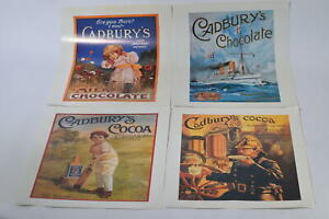 Vtg Retro Style Official Cadbury Chocolate Posters Old Style Advertising x4 RefB
