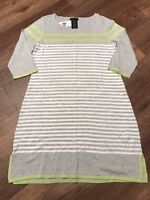NWT Women's Design History Striped Sweater Dress Gray White Yellow Missy Large L