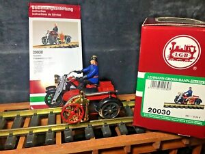 """LGB 20030 Motorcycle with """"Tom"""" the Fireman * Original Box * G Scale * Rare Find"""