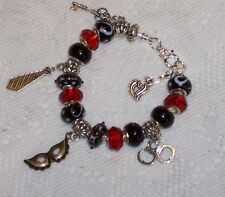 50 Fifty Shades of Grey Euro Style Bracelet Handmade Red & Black