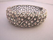 Brillante Damen Armspange Armreif Armband Strass Silber Klar Kristall A639 Bling