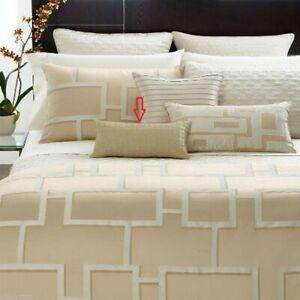 "NEW $80 Hotel Collection Maze 10"" x 18"" Decorative Pillow Natural Khaki"