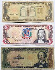 3 X CARIBBEAN BANKNOTES DOMINICAN REPUBLIC 1 5 & 20 PESOS (PRE COINS) 1988-1995