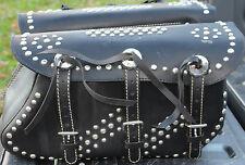 "**High Quality Leather Chrome Studs ""Indian"" New Saddle Bags Custom Chopper #400"