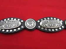 Jack Daniel's No7 Leather Belt with Metal Logos Mens Size 32 Old Brand 7
