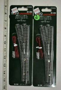 Lot 9-315 * N Scale Kato Unitrack, 2 x 20-202, #6 Left Hand Electric Turnouts