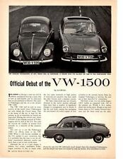 1962 VOLKSWAGEN VW-1500 ~ ORIGINAL 2-PAGE NEW CAR INTRO ARTICLE / AD