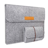 FJ- EG_ FELT LAPTOP SLEEVE CARRY COVER CASE BAG WITH MOUSE POUCH FOR APPLE AIR H