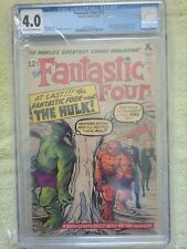 fantastic four 12 CGC 4.0 1st Hulk And Thing Battle. Off White To White Pages.