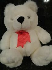 WHITE TEDDY BEAR PLUSH  WITH RED RIBBON 20""