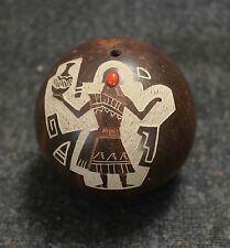 Rare Hopi Pottery Sgrafitto Seed Jar with Coral Insert by Ellsworth Nampeyo 1983