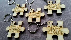 Hand made engraved Mother's Day jigsaw key ring Mum,gran,nan ANY NAME