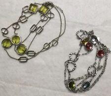Lia Sophia Midori & Gumdrop Silver Tone Long Necklaces