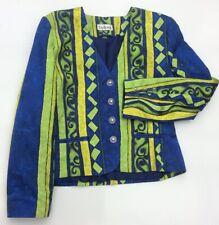 "Endora Uk10 34""B 80's Vintage Cropped Jacket Crazy Print Blue Green Retro Design"