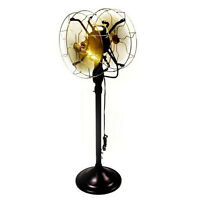 """12""""Electric Floor Fan Double Sided Oscillating Brass Blade Vintage Antique Style"""