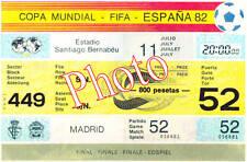 Photo Ticket Billet Finale Coupe du monde 1982 Italie