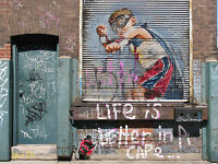 street art print CANVAS graffiti large  life is better in a cape painting