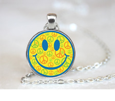 Smiley Peace Face PENDANT NECKLACE Chain Glass Tibet Silver Jewellery