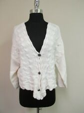 FREE PEOPLE Ivory Drop Shoulder 3 /4 Sleeve V Button Up Cardigan NWT Sz L GG6843