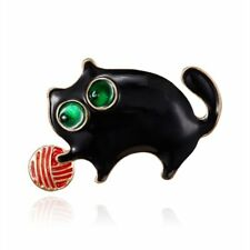 Pin Women Charm Costume Jewelry Gift Cute Animals Black Cat Ball Enamel Brooch