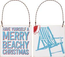 Unique Wood Sign Ornament - Merry Beachy Christmas+Beach Chair w/Santa Hat back