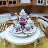 8Pcs/set 1:12 Dollhouse Miniature Dining Ware Porcelain Tea Dish Cup Pl md