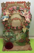Angel Valentine Card Antique Pop up out 3D Victororian