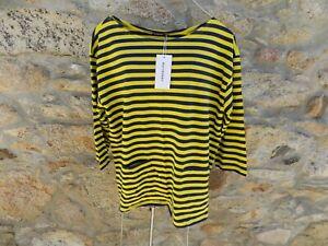 MARIMEKKO  yellow/Navy striped  tunic with pockets cotton jersey  MEDIUM BNWT