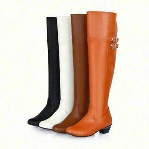 Ladies Round Toe Buckle Over the Knee High Thigh Boots Chunky Heels Casual Shoes