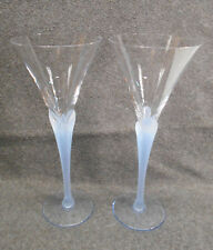 "Pair of Long Stem Wine Glasses - Blue Frosted Clamshell - 9 3/8"" & 9 7/8"" Tall"