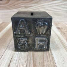 "Silver Plated Block Piggy Bank Box Cube 3"" ABC Apple Bear Cat Duck Elephant Coin"