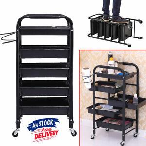 5 Tier Storage Cart Black Salon Trolley Spa Hairdresser Coloring Hair ACB#