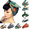 Ladies Rockabilly Style Knot Bow Pattern Wire Headband Head Wrap Scarf Hair Band