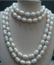 """baroque pearl necklace 65"""" 18K Gp rare 12-13mm Aaa south sea white natural"""