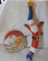 Vintage Christmas Wooden Ornaments Joy Santa w Bells & Half Moon Santa
